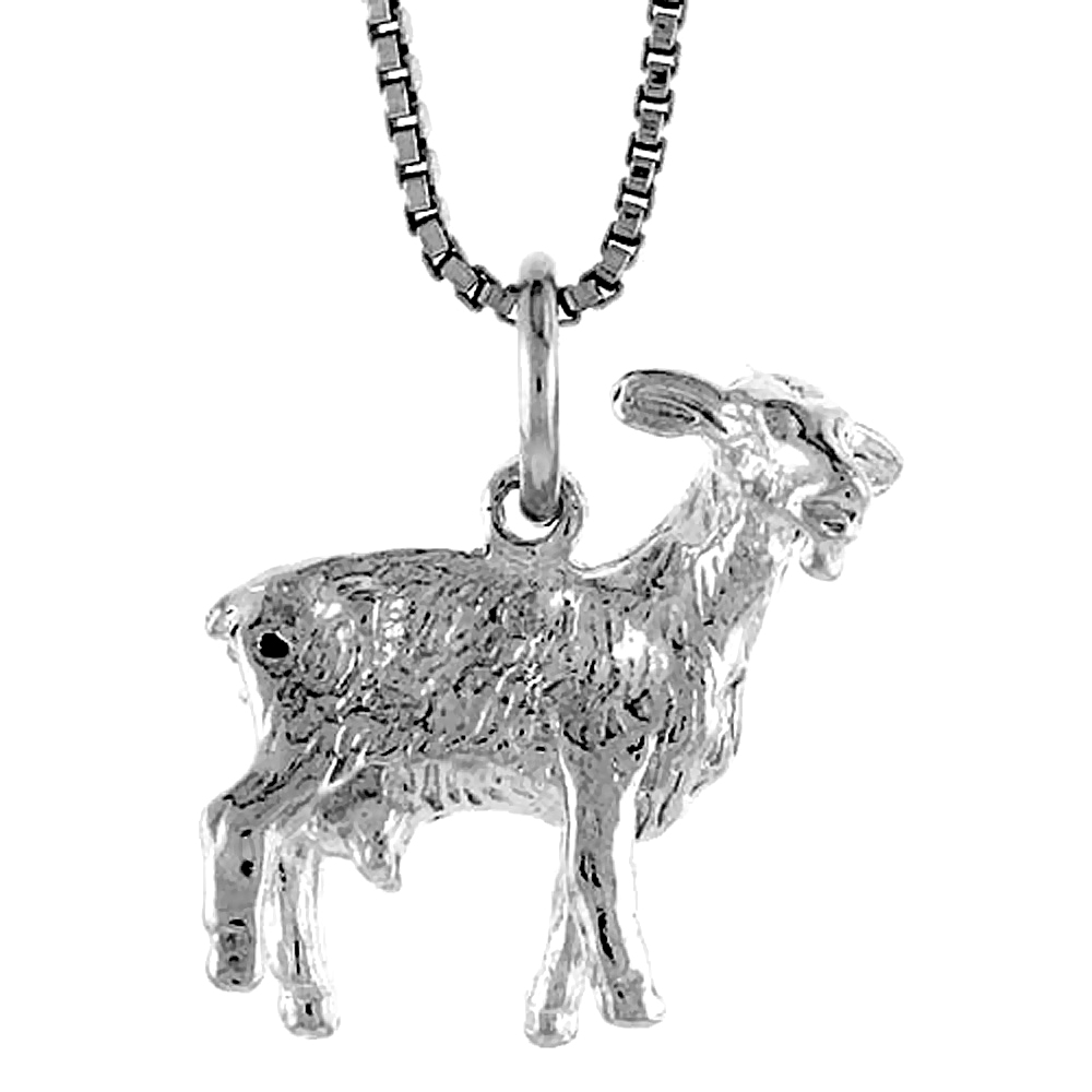 Sterling Silver Year of the GOAT Pendant Chinese Zodiac, 5/8 inch Tall