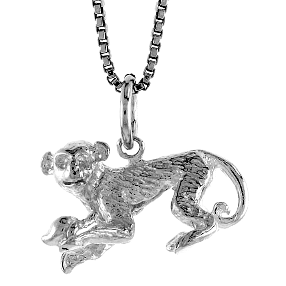 Sterling Silver Year of the MONKEY Pendant Chinese Zodiac, 1/2 inch Tall