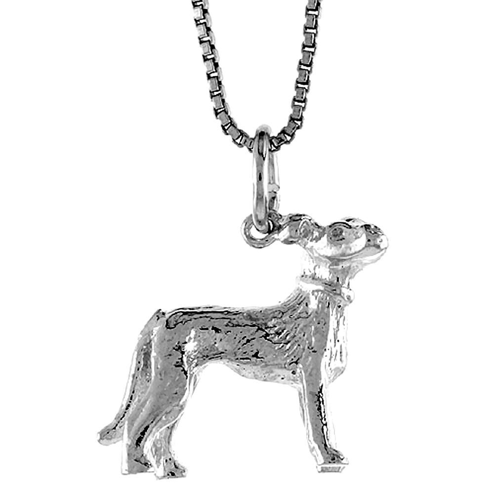 Sterling Silver Year of the DOG Pendant Chinese Zodiac, 3/4 inch Tall