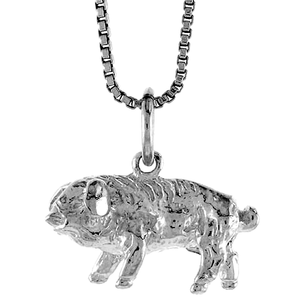 Sterling Silver Year of the PIG Pendant Chinese Zodiac, 1/2 inch Tall