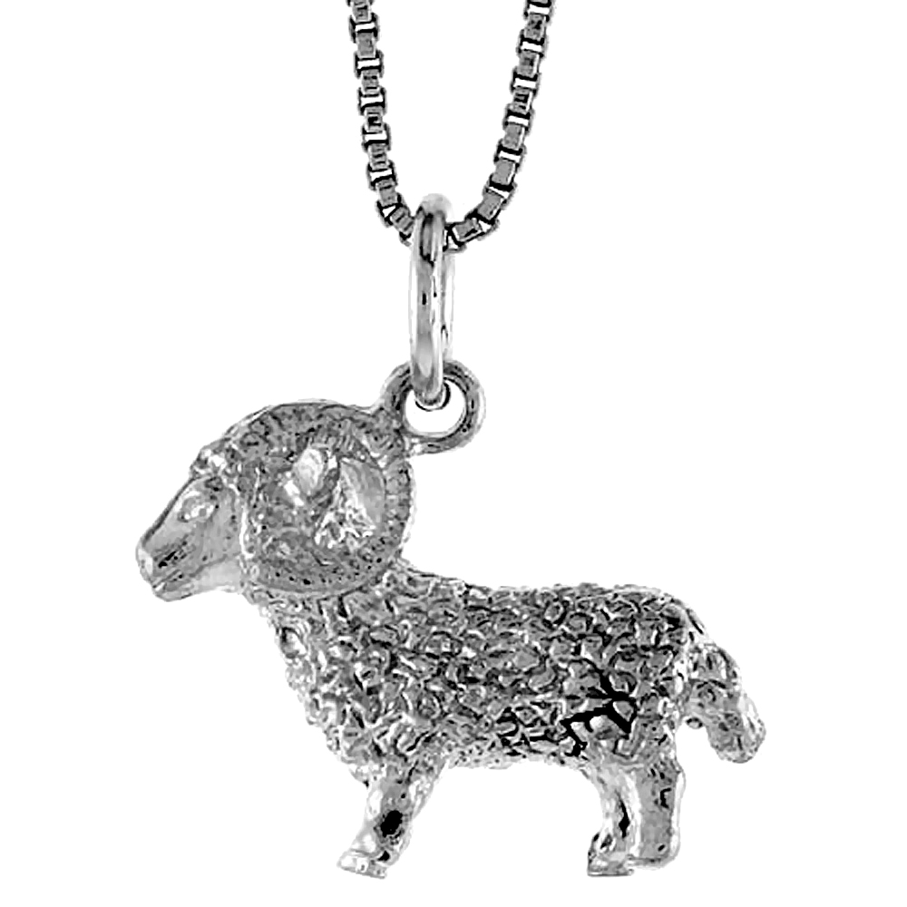 Sterling Silver Zodiac Charm for ARIES 1/2 inch Tall