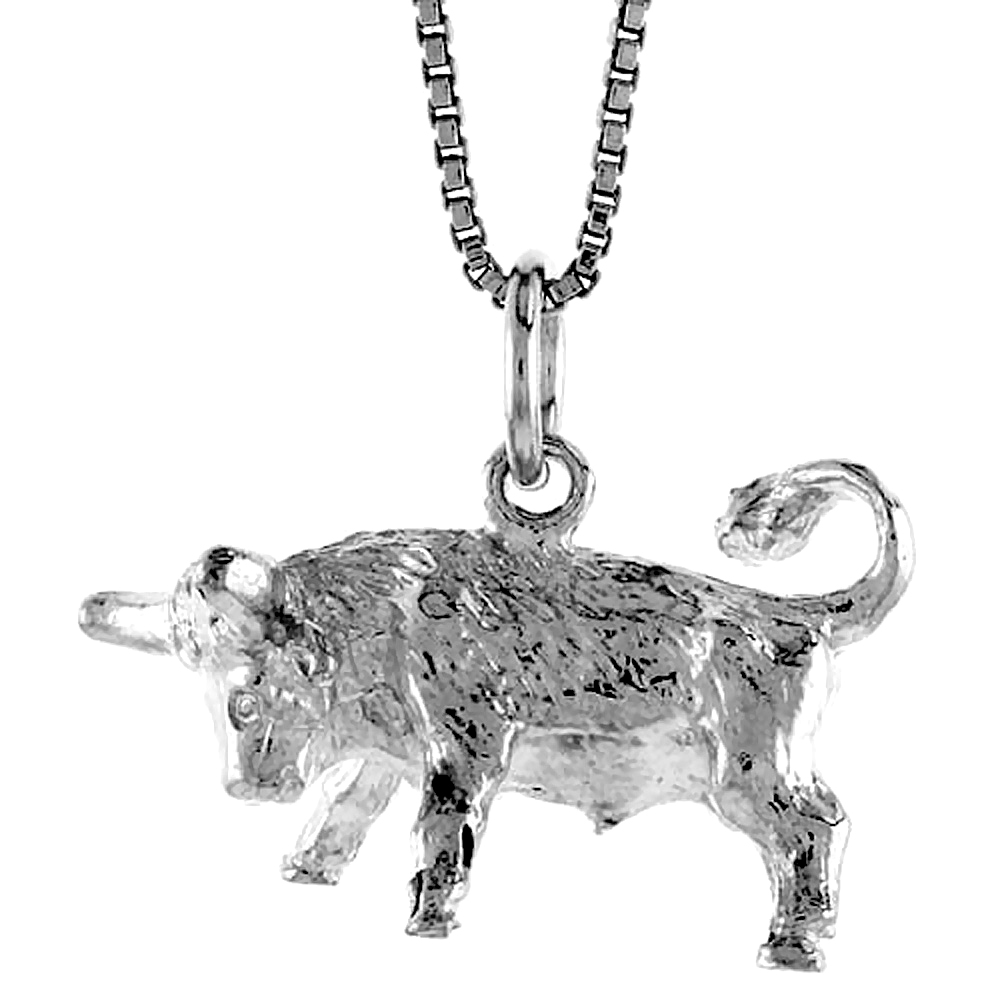 Sterling Silver Zodiac Charm for TAURUS 1/2 inch Tall