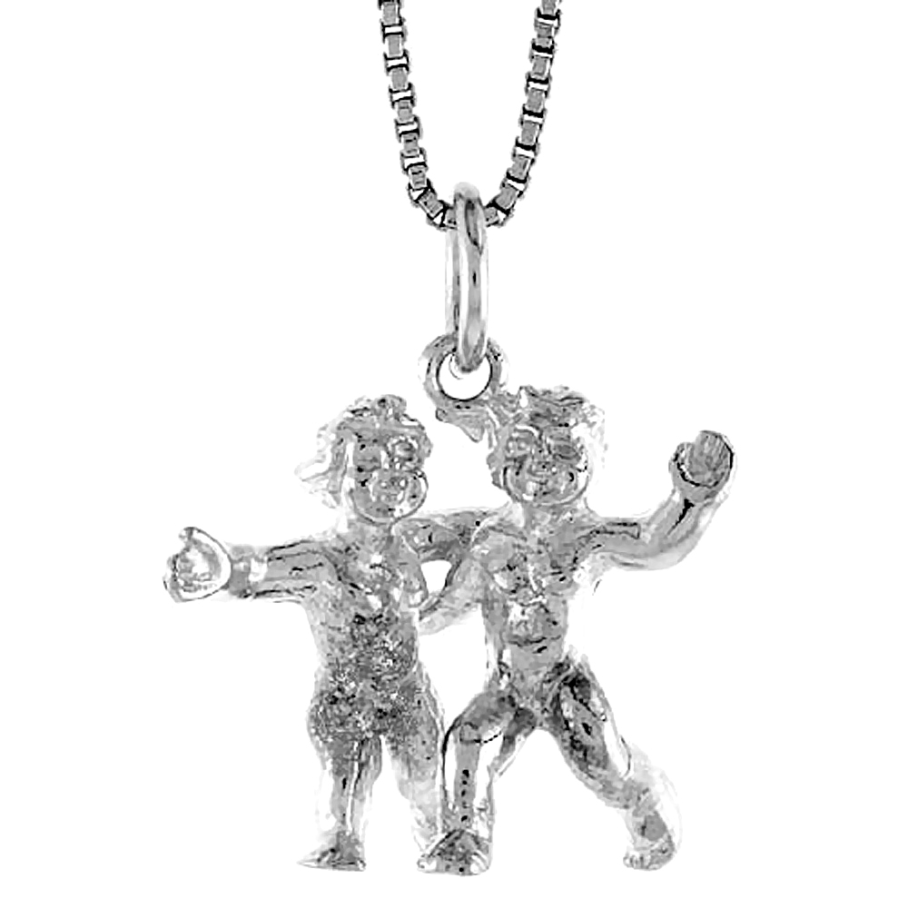 Sterling Silver Zodiac Charm for GEMINI 3/4 inch Tall