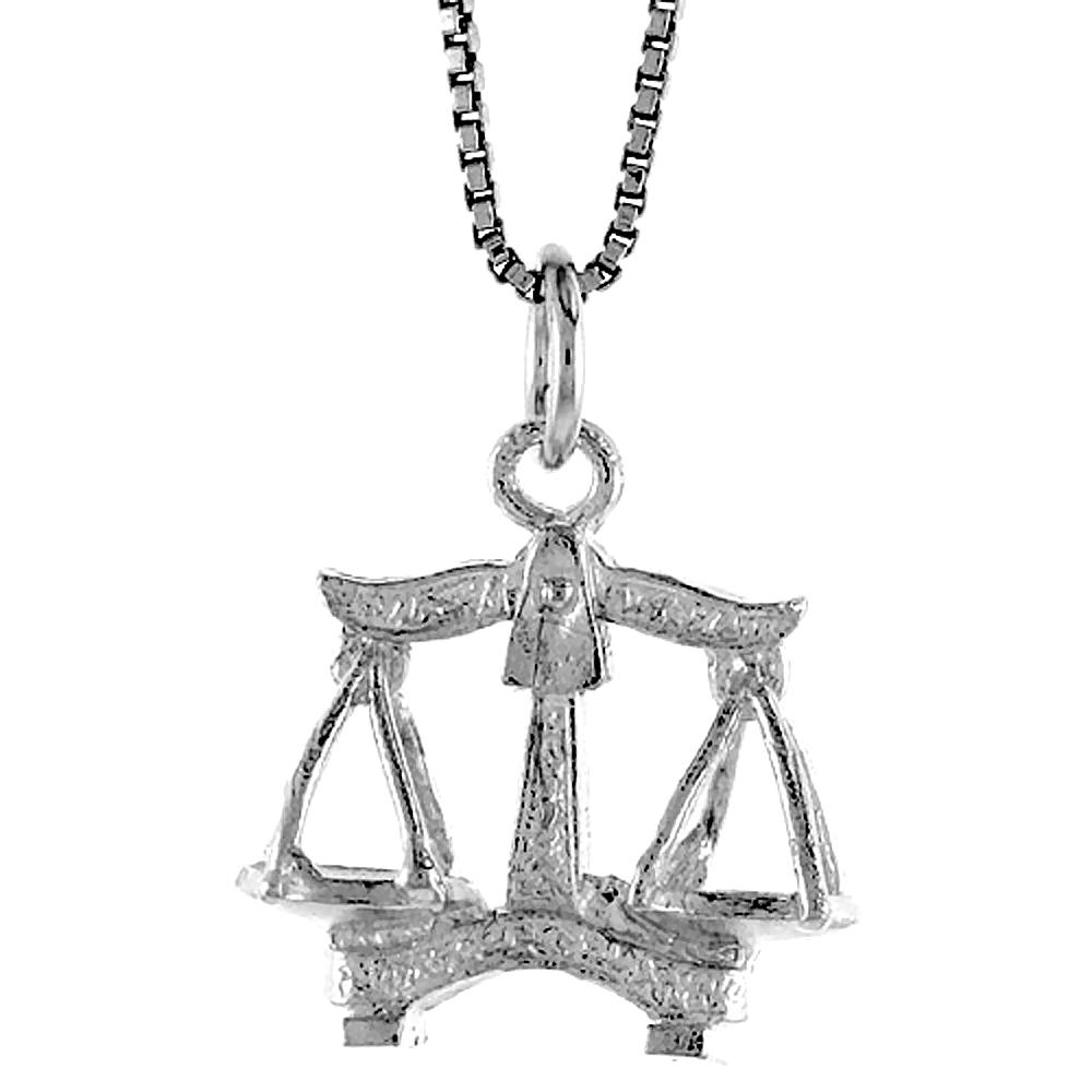 Sterling Silver Zodiac Charm for LIBRA 3/4 inch Tall
