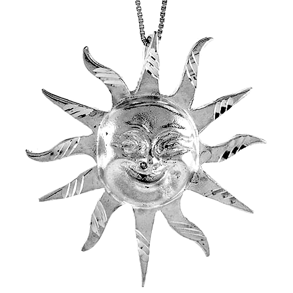 Sterling Silver Large Sun Pendant, 2 inch Tall