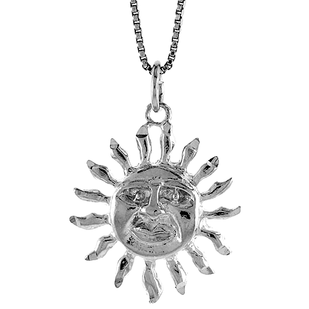 Sterling Silver Sun Pendant, 7/8 inch Tall