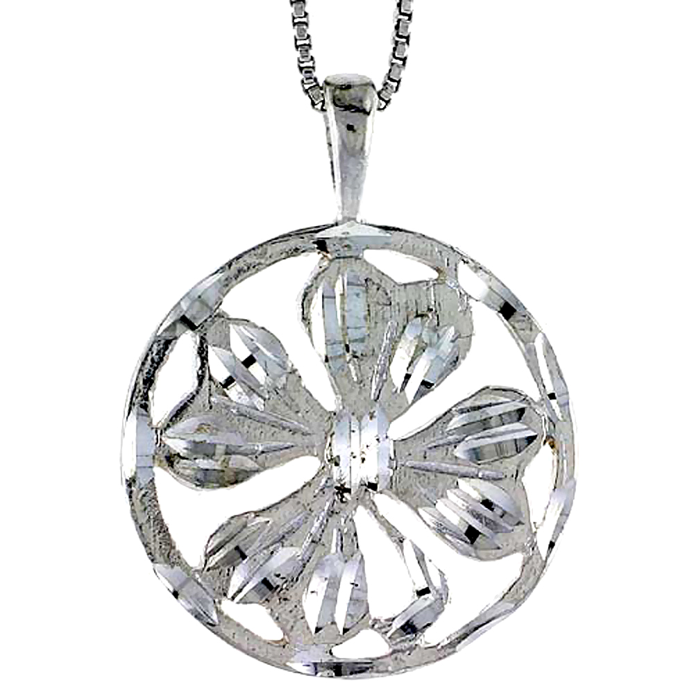 Sterling Silver 4 leaf Clover Pendant, 7/8 inch Tall