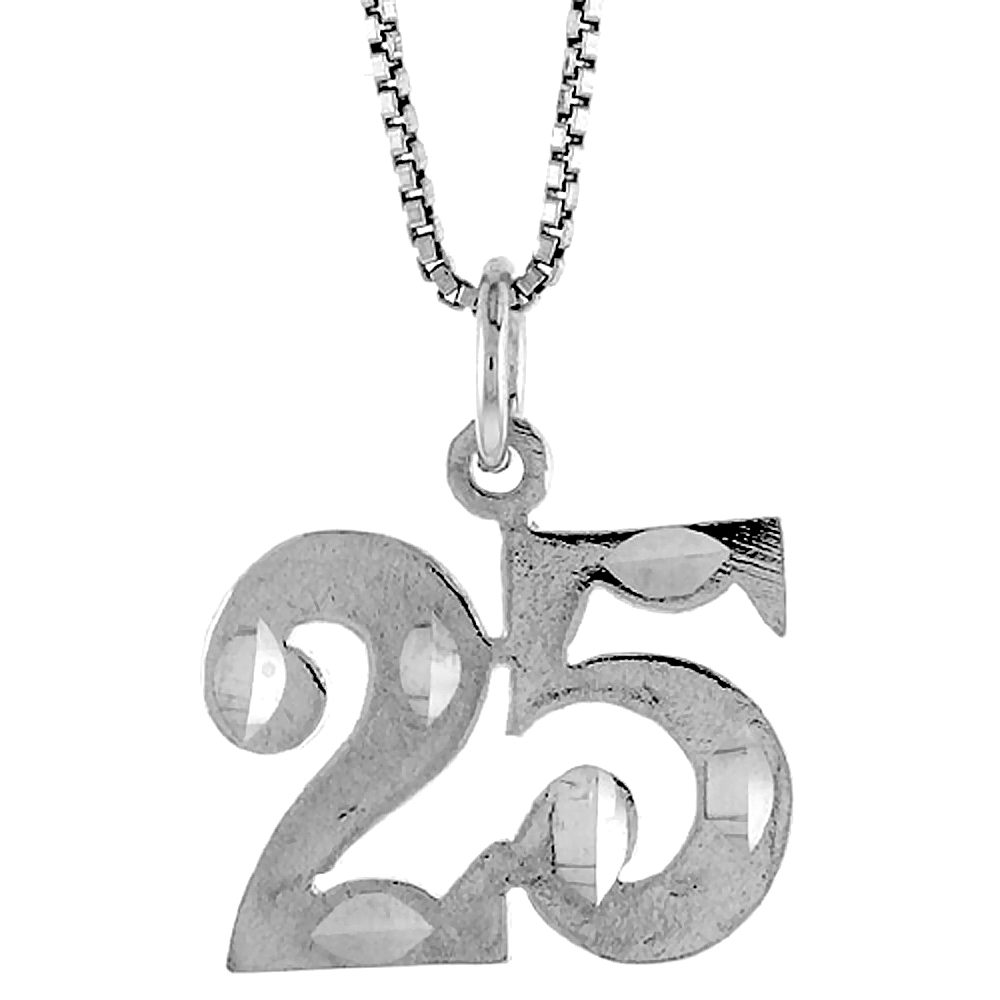 Sterling Silver number 25 Charm, 1/2 inch Tall
