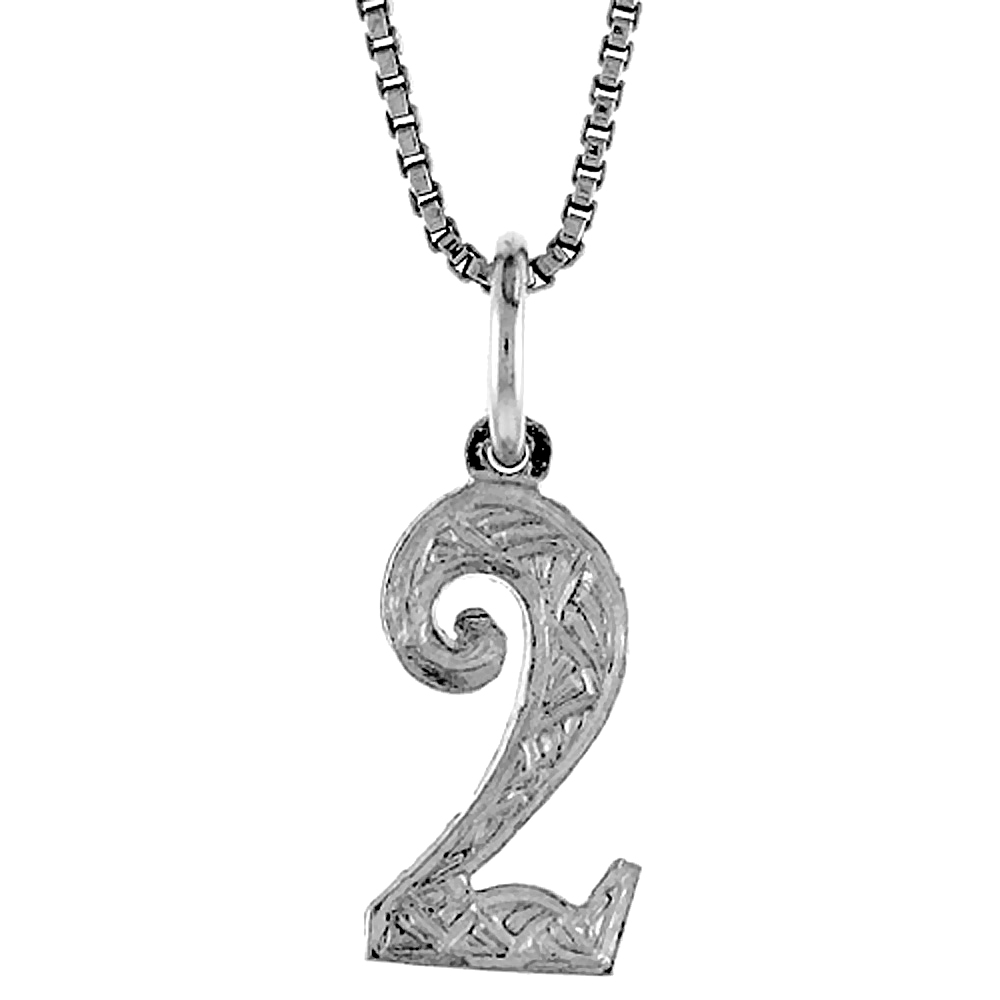 Sterling Silver number 2 Charm, 1/2 inch Tall