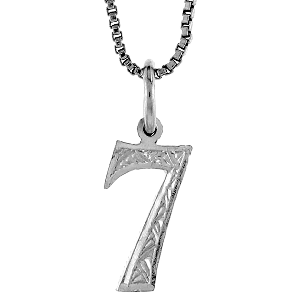 Sterling Silver number 7 Charm, 1/2 inch Tall