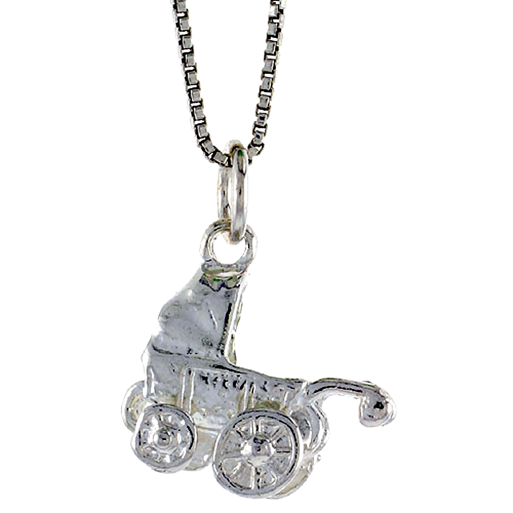 Sterling Silver Baby Stroller Pendant, 1/2 inch Tall