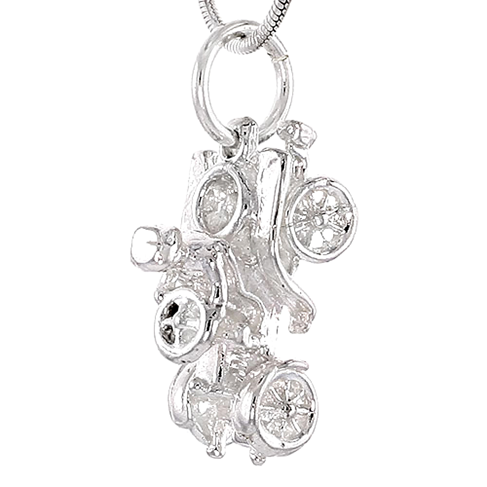 Sterling Silver Horseless Carriage Pendant, 3/4 inch Tall