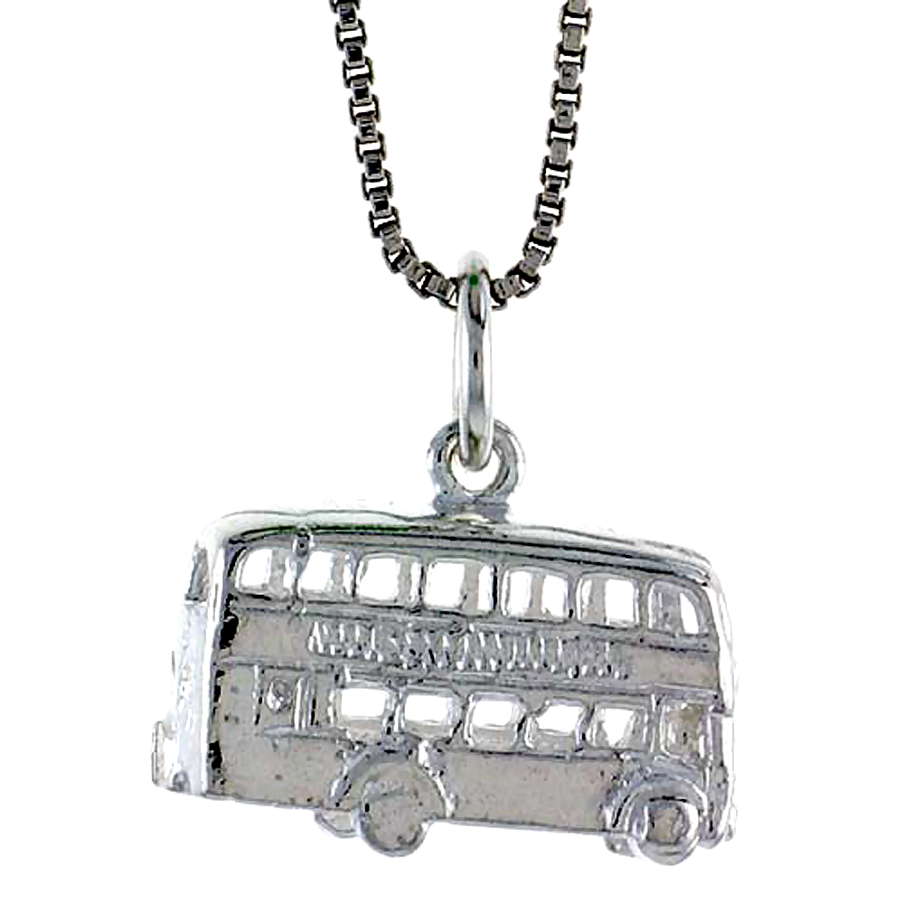 Sterling Silver Double Decker Bus Pendant, 3/8 inch Tall