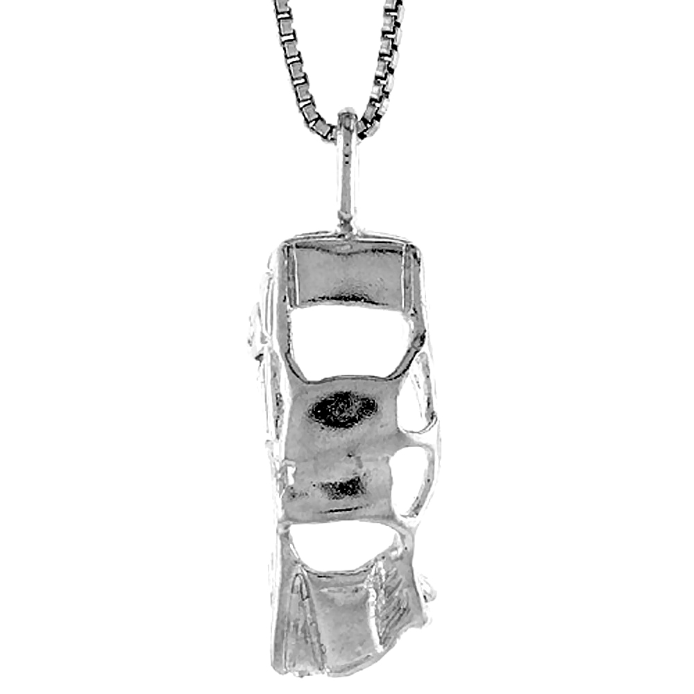 Sterling Silver Wrecked Car Pendant, 7/8 inch Tall