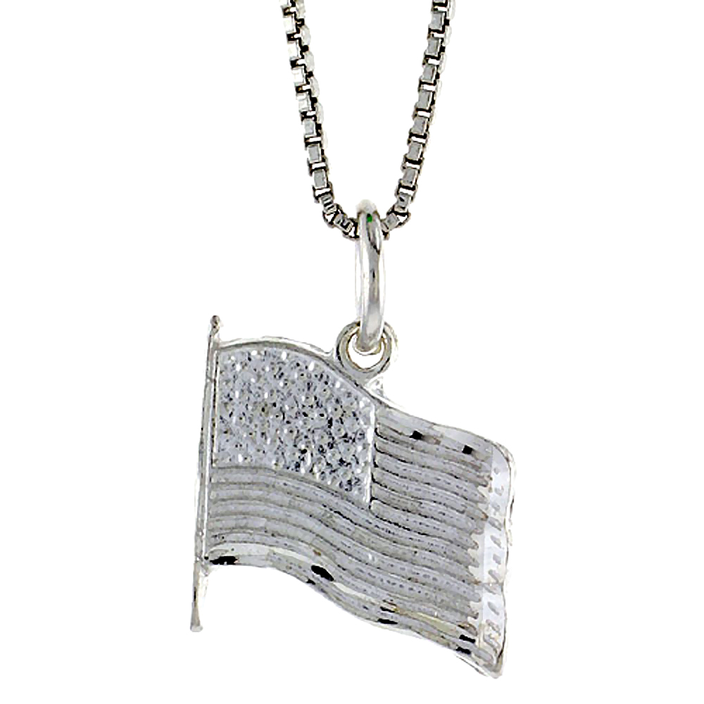 Sterling Silver USA Flag Pendant, 1/2 inch Tall