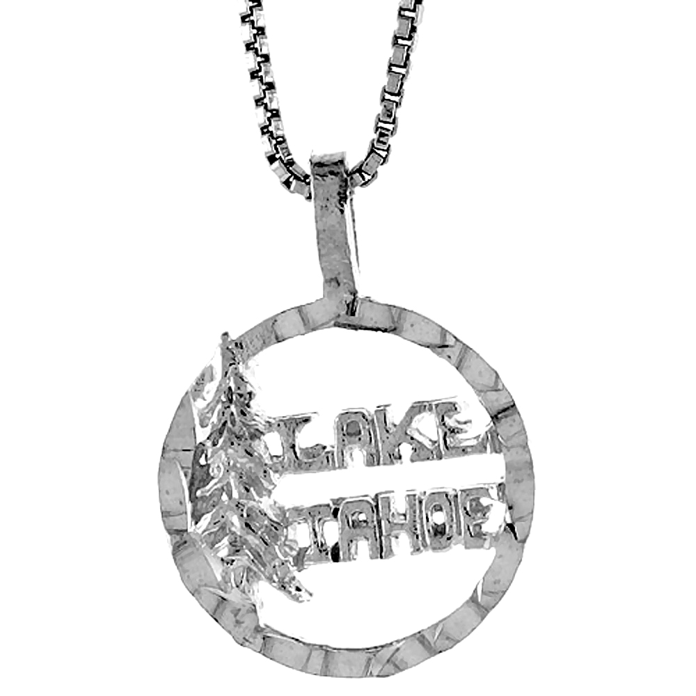 Sterling Silver Lake Tahoe Pendant, 1/2 inch tall