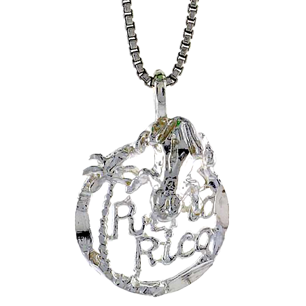Sterling Silver Puerto Rico Pendant, 5/8 inch tall