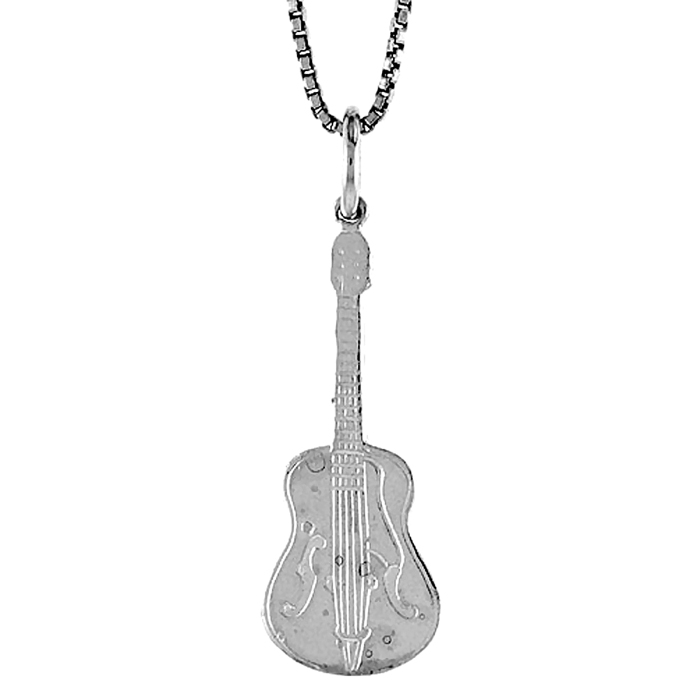 Sterling Silver Guitar Pendant, 1 inch Tall