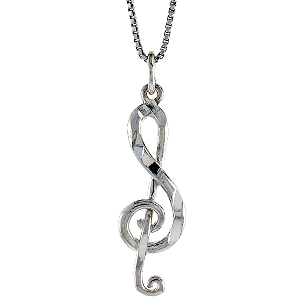 Sterling Silver G-Clef Pendant, 1 1/16 inch Tall