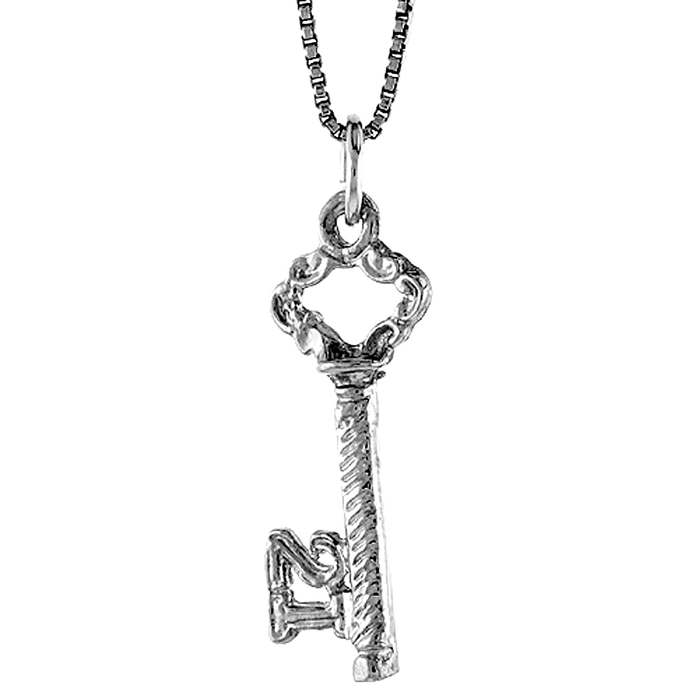 Sterling Silver Key Pendant, 1 inch Tall