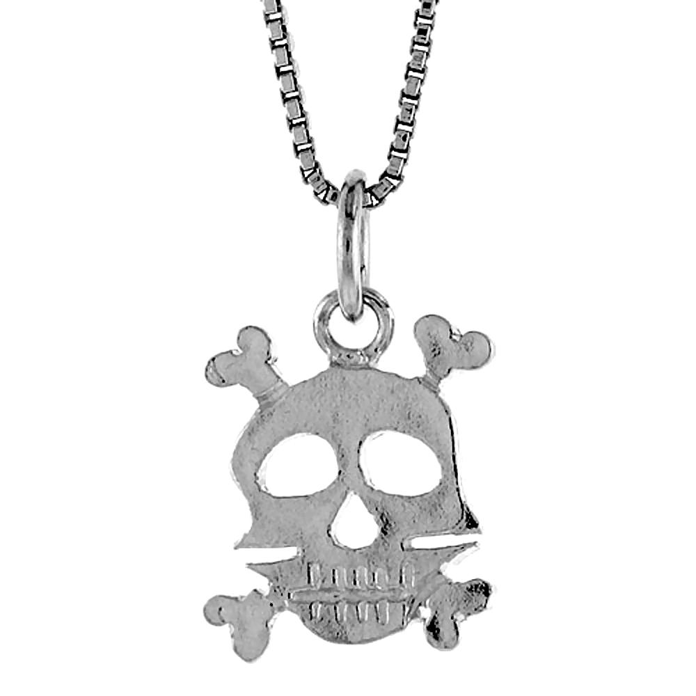 Sterling Silver Skull & Crossbones Pendant, 1/2 inch Tall