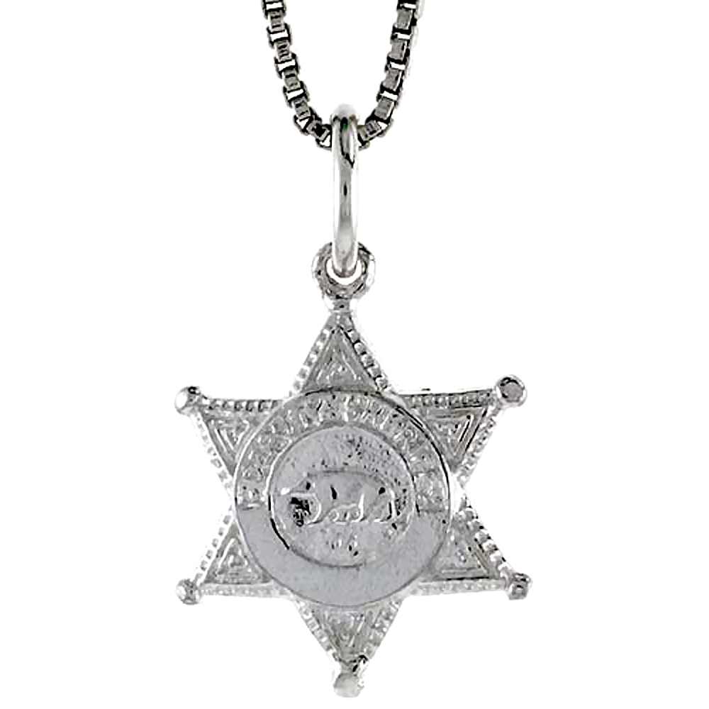 Sterling Silver Sherriff's Badge Pendant, 1/2 inch Tall