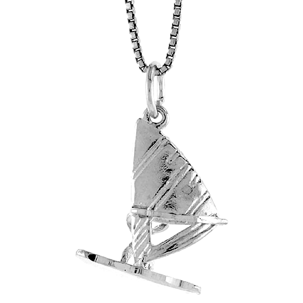 Sterling Silver Sail Board Pendant, 7/8 inch Tall
