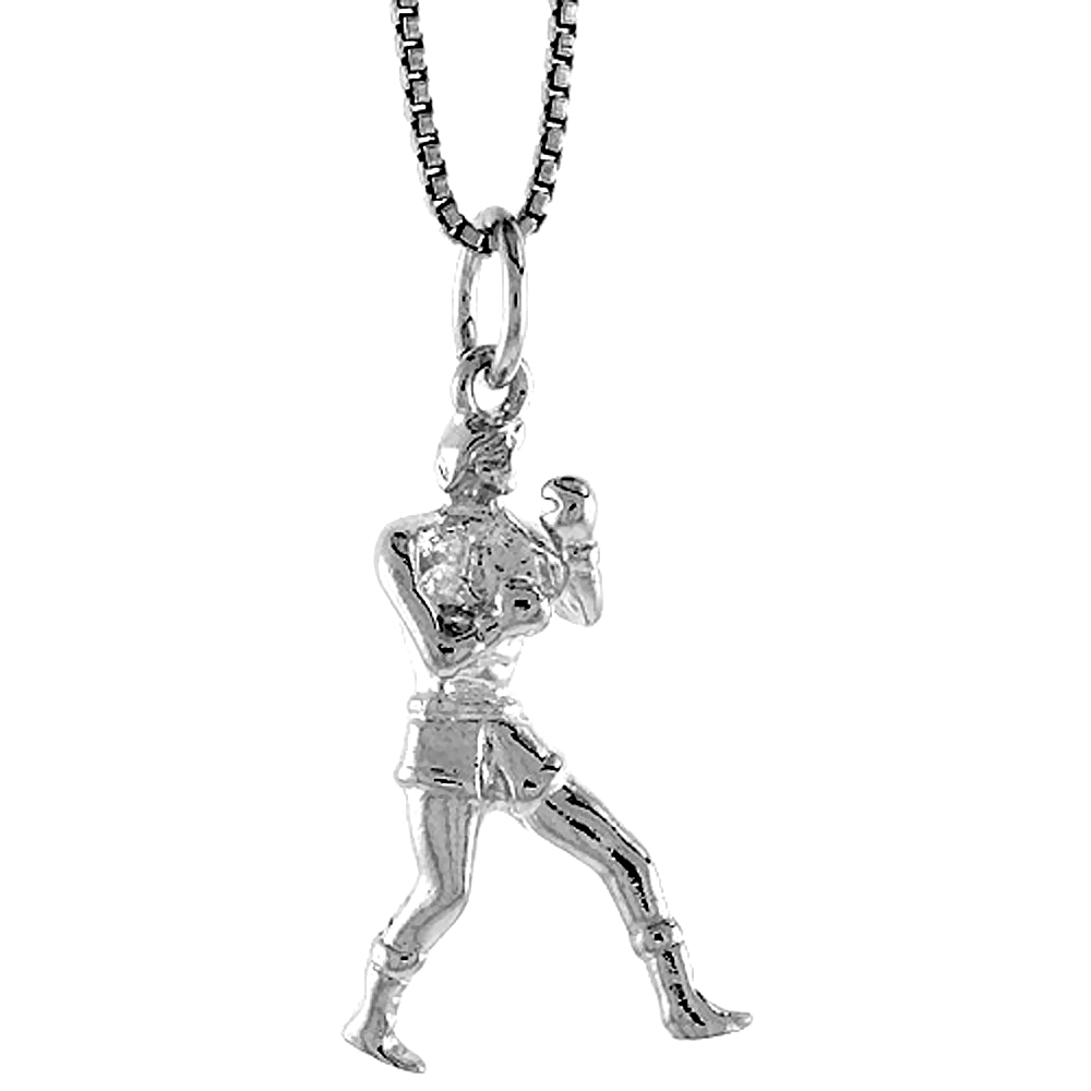 Sterling Silver Boxer Pendant, 1 inch Tall