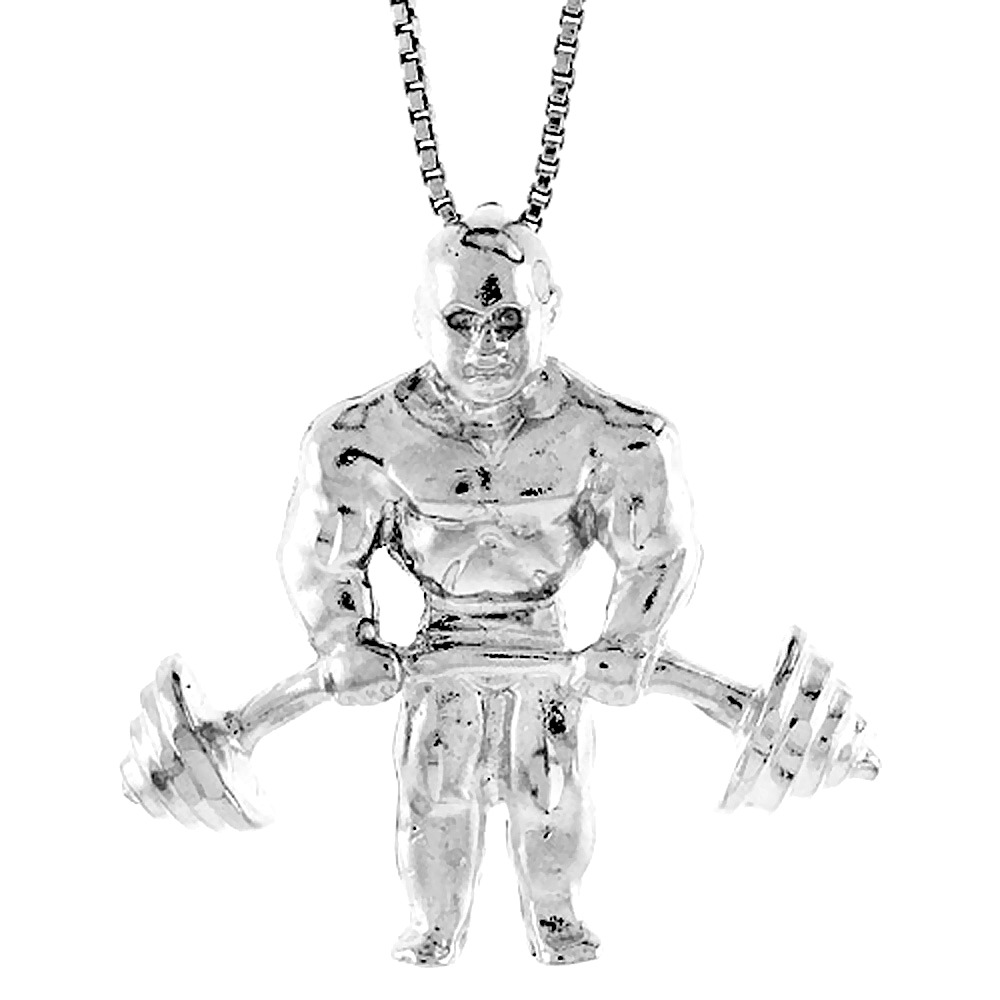 Sterling Silver Weightlifter Pendant, 1 1/8 inch Tall.