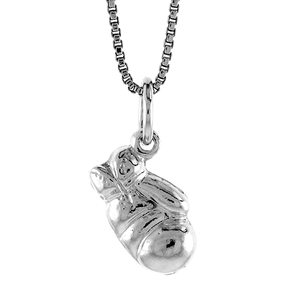 Sterling Silver Small 3-D Boxing Glove Pendant, 1/2 inch Tall