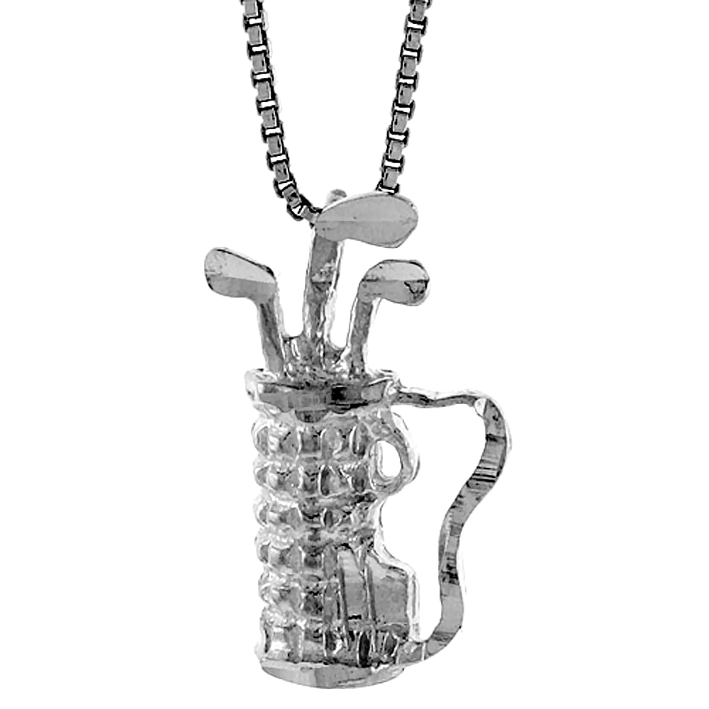 Sterling Silver Golf Bag Pendant, 7/8 inch Tall.