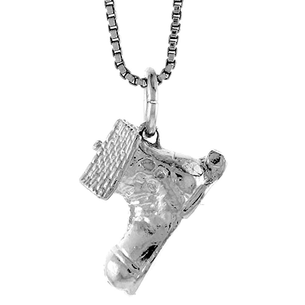Sterling Silver Boot House Pendant, 1/2 inch Tall