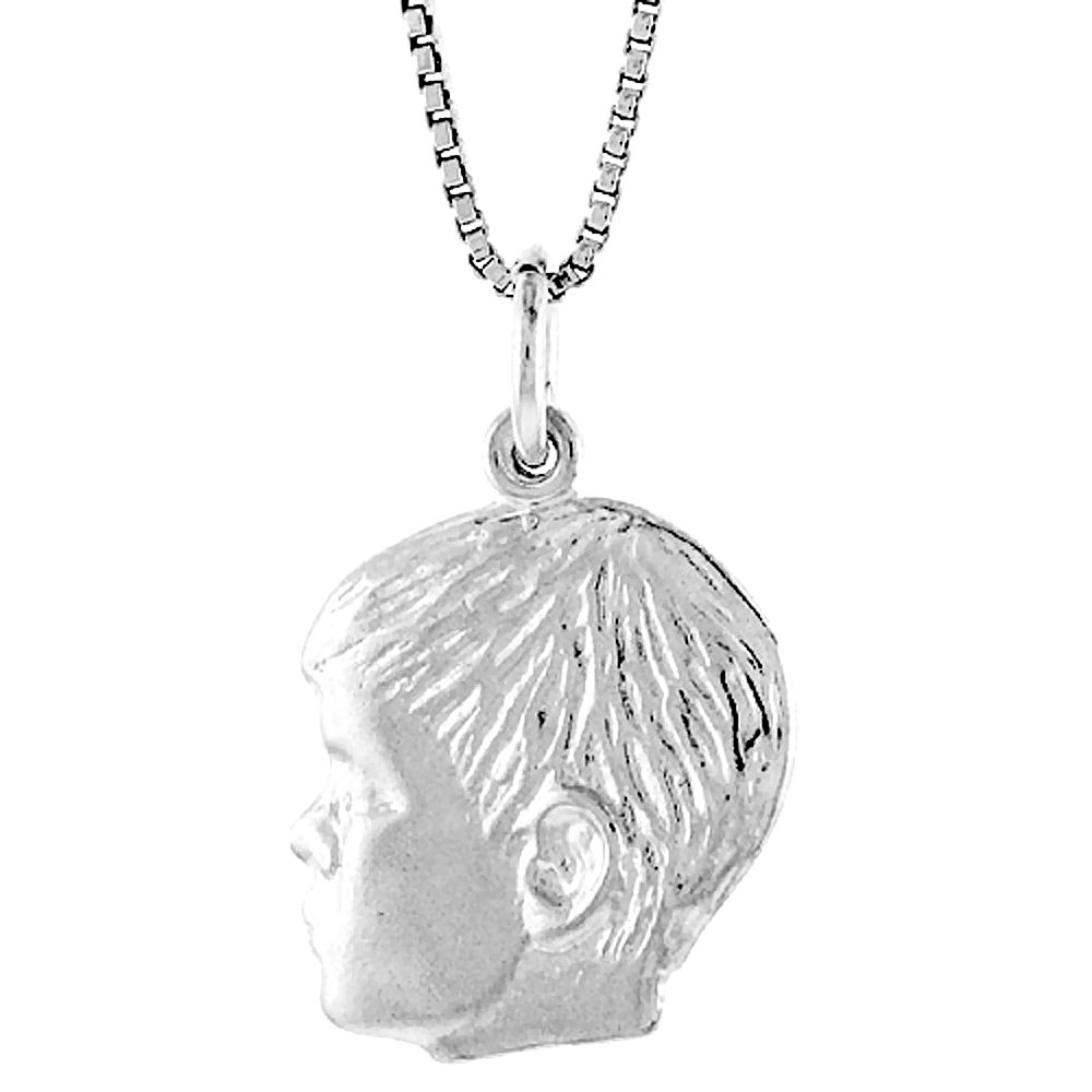 Sterling Silver Boy's Head Pendant, 3/4 inch Tall