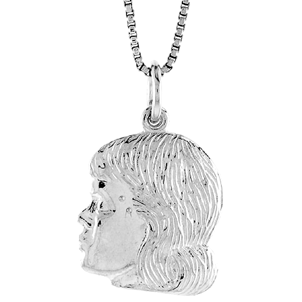 Sterling Silver Girl's Head Pendant, 3/4 inch Tall