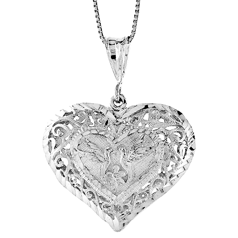 Sterling Silver Large Filigree Heart Pendant, 1 1/4 inch Tall