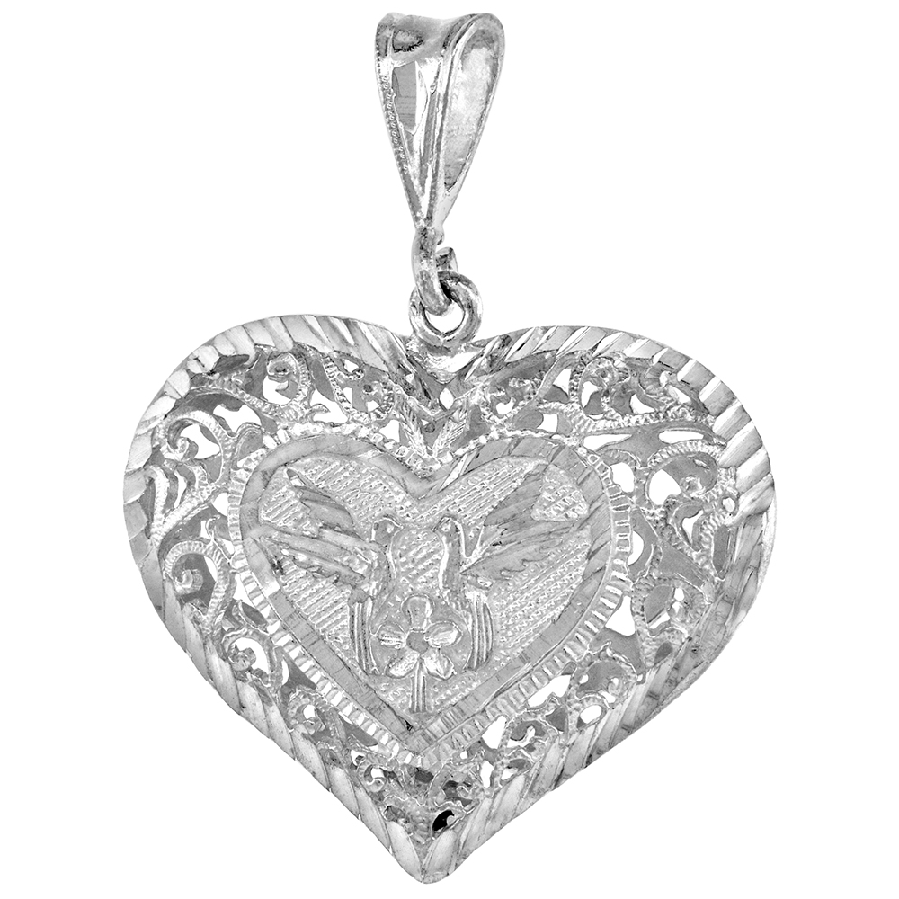 1 1/4 inch Sterling Silver Filigree Heart Pendant for Women Large