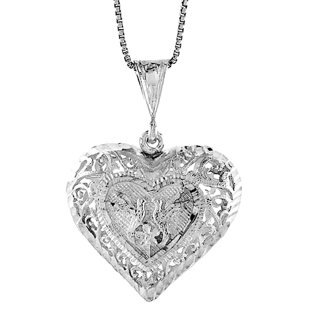 Sterling Silver Large Filigree Heart Pendant, 1 inch Tall