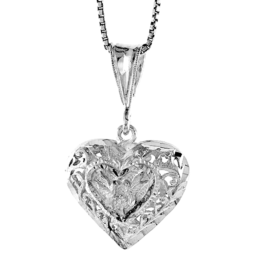 Sterling Silver Filigree Heart Pendant, 3/4 inch Tall