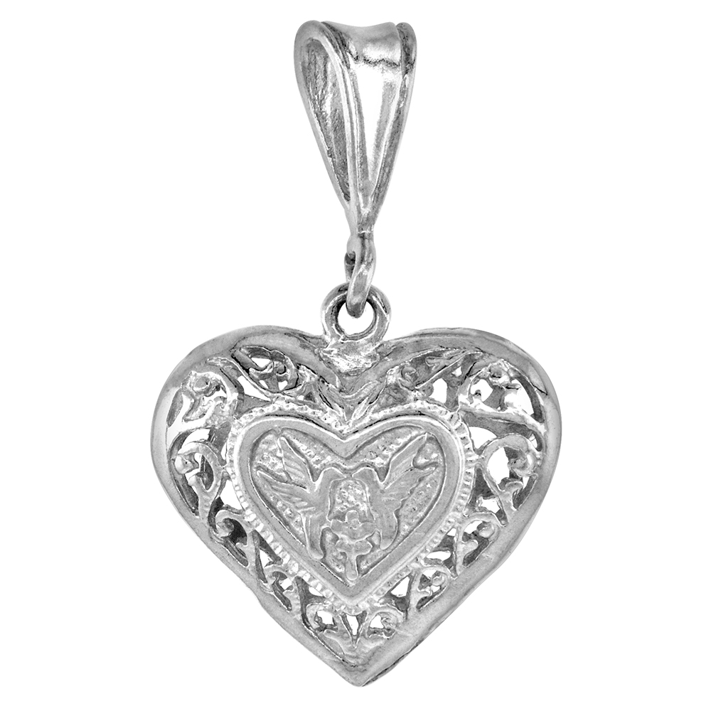 3/4 inch Sterling Silver Filigree Heart Pendant for Women Small