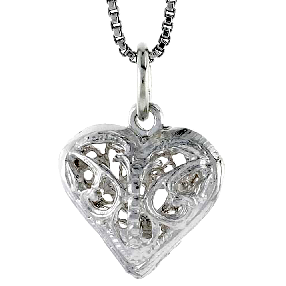 Sterling Silver Small Filigree Heart Pendant, 1/2 inch Tall