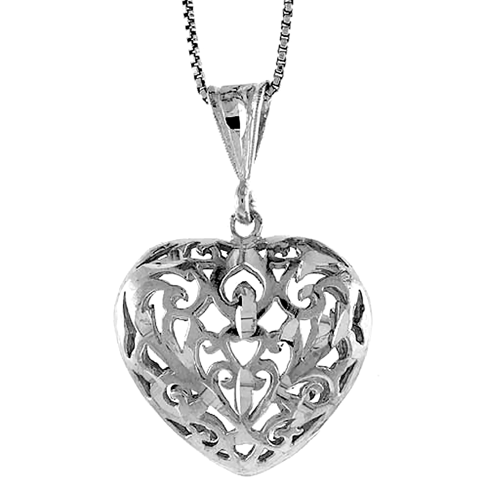 Sterling Silver Filigree Heart Pendant, 1 inch Tall