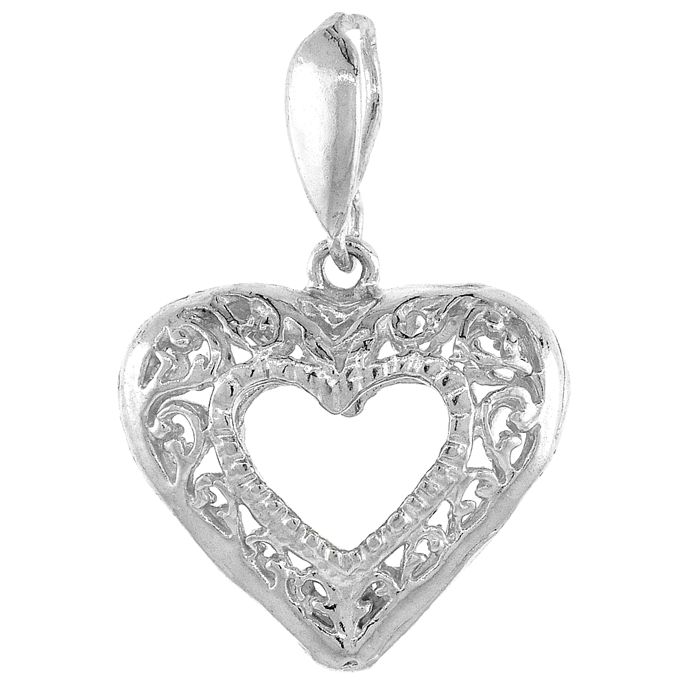 Sterling Silver Small Filigree Cut-out Heart Pendant, 3/4 inch Tall