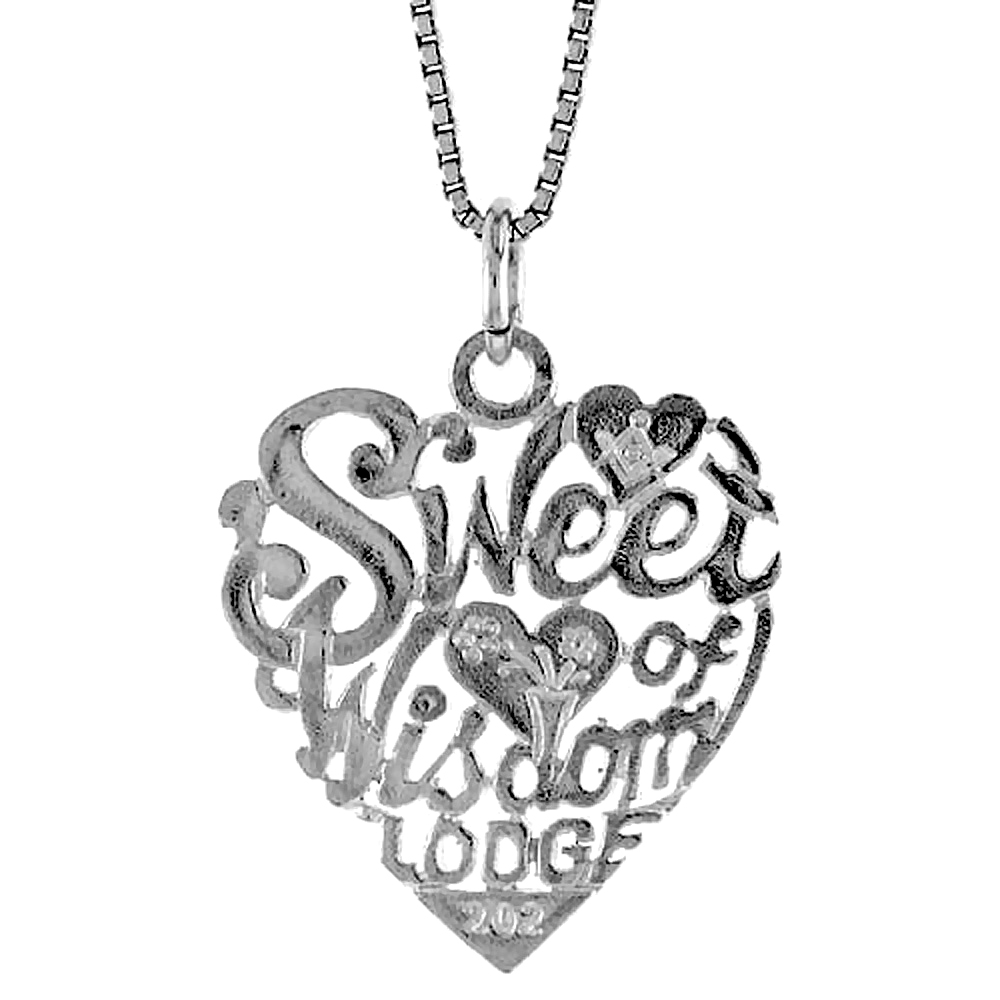"Sterling Silver """"Sweet Heart of Wisdom Lodge"""" Pendant, 7/8 inch Tall"