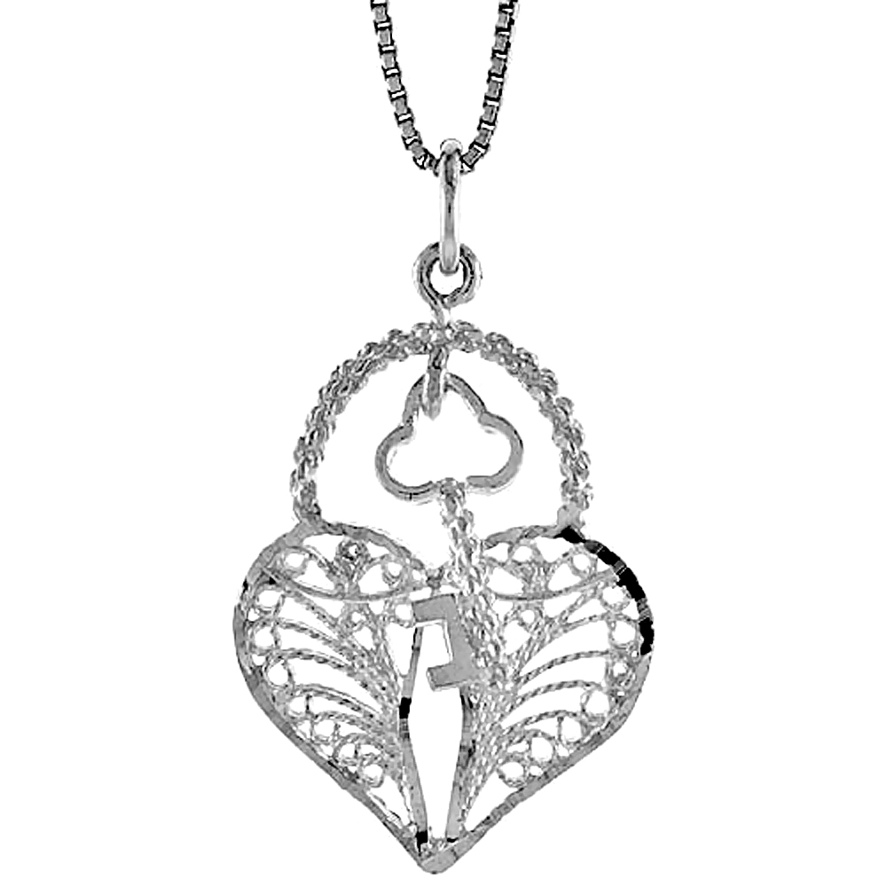 Sterling Silver Filigree Key to My Heart Pendant, 1 1/16 inch Tall