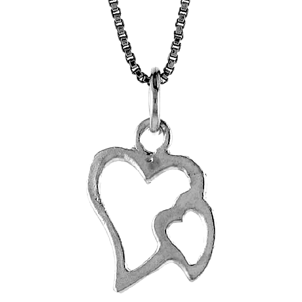 Sterling Silver Double Cut-out Heart Pendant, 5/8 inch Tall