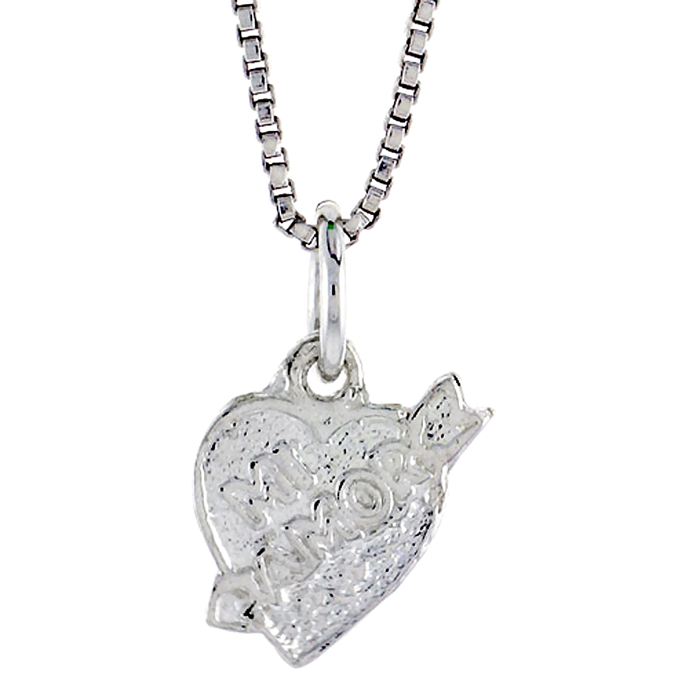 Sterling Silver Mi Amor Pendant, 5/16 inch Tall