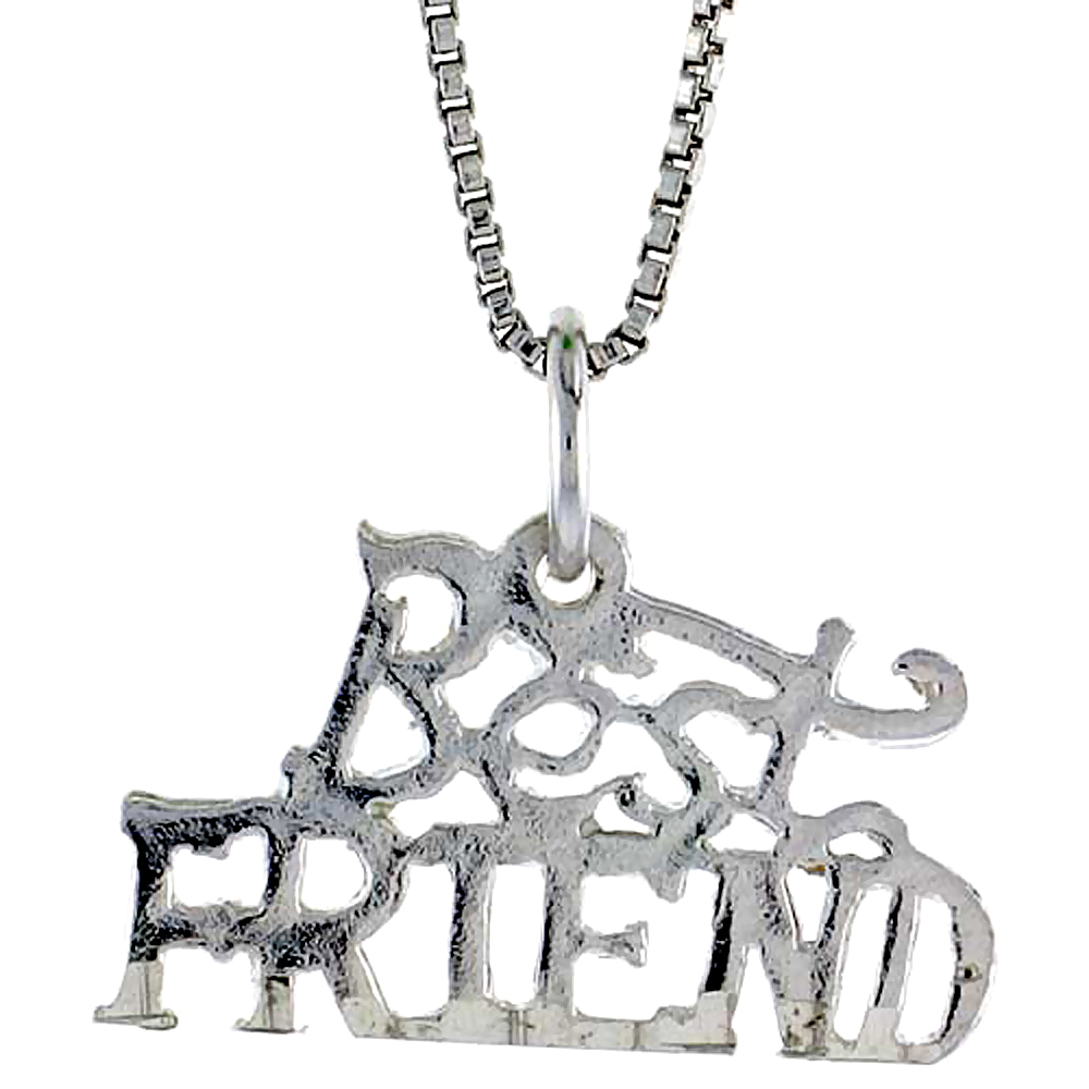Sterling Silver Best Friend Word Pendant, 1/2 inch Tall
