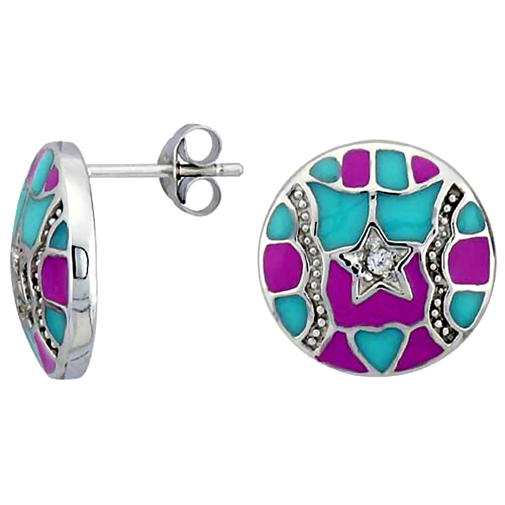 "Sterling Silver 9/16"" (15 mm) tall Post Earrings, Rhodium Plated w/ CZ Stones, Pink & Blue Enamel Designs"
