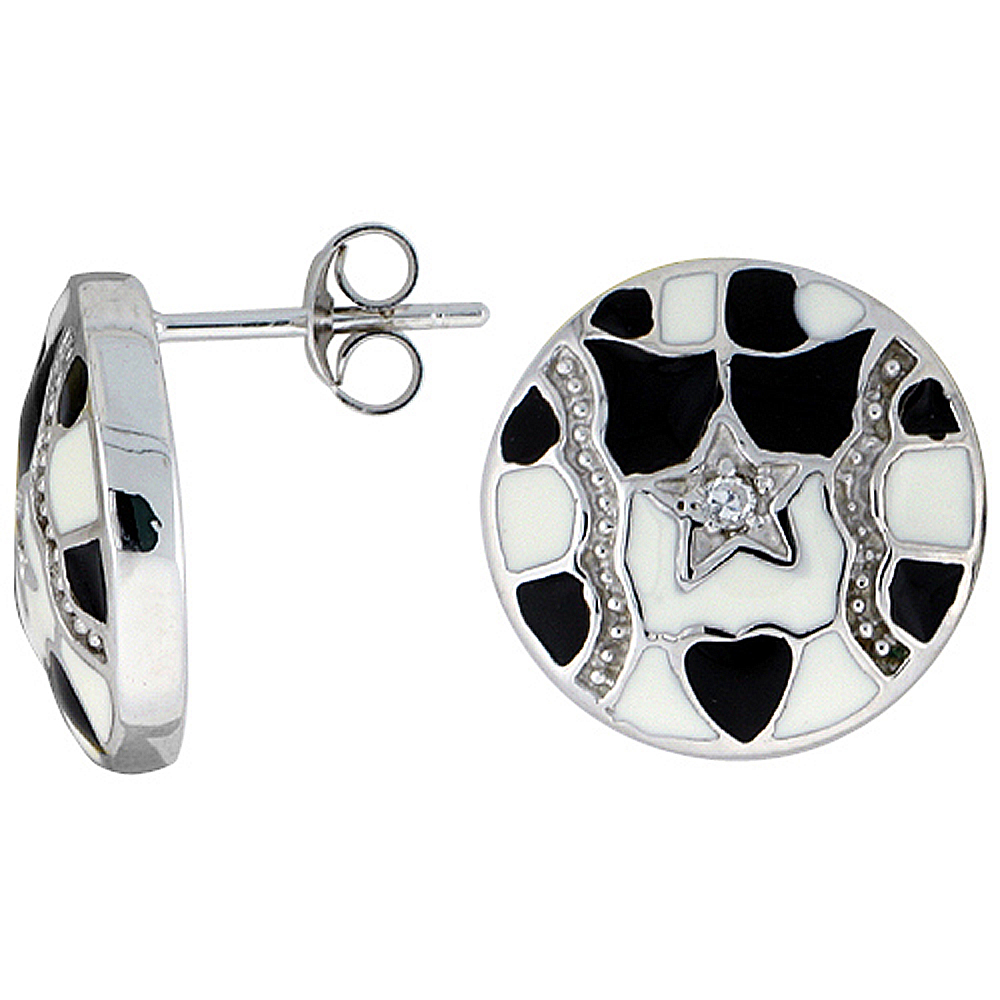 "Sterling Silver 9/16"" (15 mm) tall Post Earrings, Rhodium Plated w/ CZ Stones, Black & White Enamel Designs"