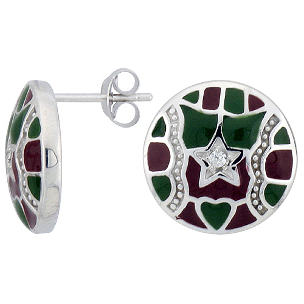 "Sterling Silver 9/16"" (15 mm) tall Post Earrings, Rhodium Plated w/ CZ Stones, Green & Red Enamel Designs"